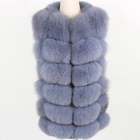 меховая куртка оптовых-Women's puls Size Grey Natural  Fur Vest Coat Fashion fur Grass Vest Jacket Park