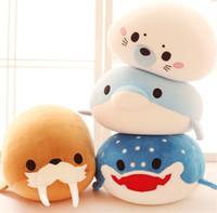чучела животных оптовых-New Super Cute Plush Toy Birthday Christmas Gift Cartoon Soft Stuffed Classic Doll Soft Sea Animal Dolphin Whale Nano Doll