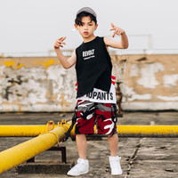 rote tarnkleidung großhandel-Junge Hip Hop-Tanz-Kostüm Kinder Schwarz Weste Red Camouflage Hose Jungen Mordern Jazz Street Dance Bekleidung Kinder Stage Show DN2083