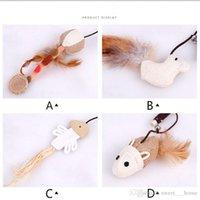 ahşap balıkçılık oyuncakları toptan satış-Pet malzemeleri Doğal ahşap kenevir sanat fare kafası küçük balık kedi oyuncaklar çan ile oynamak için kedi çubuk sopa ile oyna kedi sopa 3587C