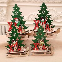 Wholesale santa claus paintings resale online - Christmas decorations Christmas Santa Claus Snowman Deer Tree Painted wood assembled DIY sled car ornaments jigsaw puzzle gifts