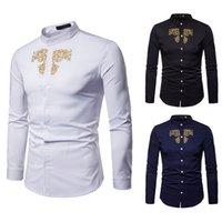 stickerei hülse bluse großhandel-Hemd dünne Männer beiläufige Männer Hemd Sommer Polyester Männer Luxus Gold Stickerei Langarm Top Bluse W413
