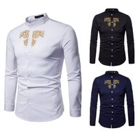 рубашки из полиэстера для мужчин оптовых-Shirt Slim Men Casual Men Shirt Summer Polyester Men's  Gold Embroidery Long Sleeve Top Blouse W413