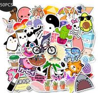 ingrosso adesivi cartoon per computer portatile-50 pc / lotto del fumetto giallo VSCO Adesivi Adesivi Chidren Giocattoli impermeabili al fai da te Valigia portatile del casco della bicicletta decalcomanie L