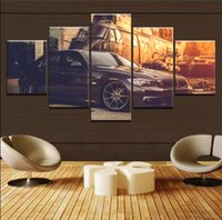 ingrosso pittura aerei-BMW Car and Classic Retro Aircraft, 5 pezzi Stampe su tela Wall Art Oil Painting Home Decor (senza cornice / con cornice)