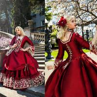 vestido bola azul victorian venda por atacado-2020 Gothic Vintage Medieval Quinceanera vestidos de manga comprida vitoriano vestido de baile Formal desgaste do partido vestido de baile