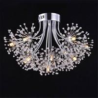 hochwertige moderne kronleuchter großhandel-Moderner Kristall führte Deckenleuchter, hochwertige Chromende geführte Glanzleuchterbeleuchtung, helle Lampe des Löwenzahndekors 13
