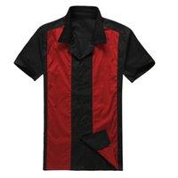 ingrosso cowboy nero camicia xxl-Camicia di cotone da uomo americano occidentale in caldo stile Candow Look Camicia in cotone da uomo Rockabilly vintage rosso blu da cowboy