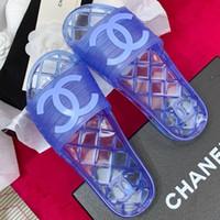 breite schuhe großhandel-Neue Ankunft PVC Frauen Sandalen Designer Schuhe Luxus Rutsche Sommer Mode Breite Flache Glatte Sandalen Slipper Flip Mules Mit Box Größe 35-41