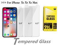 protector de pantalla de cristal empaquetado al por mayor-Para iPhone XS Max. 6.5 pulgadas XR Cristal templado iPhone X 8 Protector de pantalla Para iPhone 7 7 Plus 6 6 Plus Película 0.33mm 2.5D 9H Paquete de papel