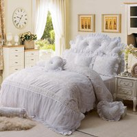Wholesale korean princess bedding sets resale online - White lace fleece winter thick bed set Korean Princess style bedding sets Full Queen King size duvet cover Bedskirt pillowcase