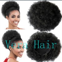 Wholesale ponytails black women hairstyles resale online - Afro Kinky Curly Ponytail For Women Natural Black Remy Hair Piece Clip In Ponytails Drawstring Human Hair