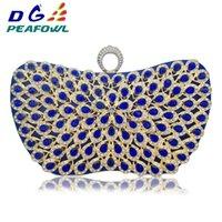 sac à main bleu élégant achat en gros de-Nouveau Design Metallic Blue Diamonds Perlé Fleur Sacs À Main Filles Elegant Sacs De Mariée Soirée Sacs Ladies Day Embrayages Partie Sac # 33341