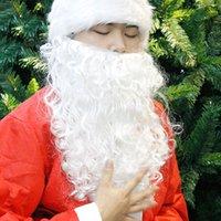 weißer bartcosplay großhandel-Weihnachten Erwachsenes Kind Cosplay Weihnachtsmann Weißer Bart 2018 Schöne Weihnachtsshow Weiß Alter Mann Bart Phantasie Bärte