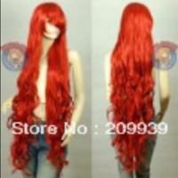 kırmızı peruk kanekalon toptan satış-LL Kanekalon Serisi Koyu Kırmızı Kıvırcık Uzun Cosplay DNA Peruk