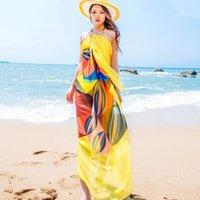 artı boyut havluları toptan satış-Pareo Eşarp Kadınlar Plaj Sarongs Plaj Cover Up Yaz Şifon Eşarp Geometrik Tasarım Artı Boyutu Havlu 140x190 cm