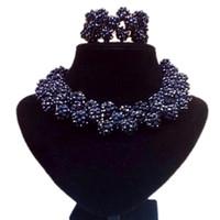 cadena de serpiente de plata india al por mayor-Joyería de moda Dubai Black Balls Juego de collar de Navidad para niñas Joyería de bodas Regalo Conjuntos de joyería fina para mujeres Envío gratis