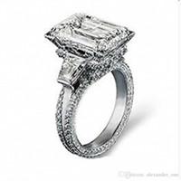 ingrosso set di gioielli in torre eiffel-Lusso 925 Sterling Silver Torre Eiffel Pave impostazione 408 PZ CZ Big 8CT diamante quadrato pietra preziosa anelli gioielli fedi nuziali anello per le donne