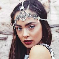 ingrosso fasce di nappa per le donne-Accessori per capelli Boho vintage etnici fascia per capelli fiore nappa moneta fascino catena testa accessori per capelli da sposa fronte gioielli per le donne