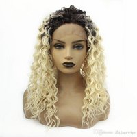 ingrosso morbido colore naturale dei capelli biondi-Radici parte anteriore del pizzo allentato dark wave Ombre Biondo Colore parrucca fibra morbida naturale dei capelli di moda Cosplay per le donne