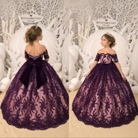Wholesale silver beads for sale - Dark Purple Flower Girl Dresses Short Sleeve Lace Sequins With Big Bow Girls Pageant Gowns Toddlers First Communion Gowns For Wedding Party