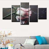 çerçeveli art deco boyama toptan satış-HD Baskı Modern Oturma Odası Ev Duvar Art Deco Modüler Resim Poster 5 Parça Sanat Su Splash Gül Manzara Boyama Çerçevesi