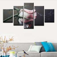 ingrosso deco cornici-Stampa HD Modern Living Room Home Wall Art Deco Picture Poster modulare 5 pezzi Art Water Splash Rose paesaggio pittura cornice