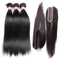 ingrosso merletto kim kardashian-Bundle brasiliano capelli lisci con 2x6 Kim Kardashian pizzo chiusura parte centrale colore naturale 100% non trasformati estensioni dei capelli umani vergini