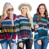 Wholesale wholesale tunic tees for sale - Women striped Long Sleeve T Shirt irregular kinking Loose Trim Blouse colorful Round Neck Tunic Maternity Tops Tees Shirt AAA1673