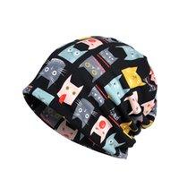 kadınlar için şapkalar toptan satış-Yeni kadın Kış Koşu Kap Eşarp Basit Stil Kedi Baskılı Nefes Streç Şapka Boyun Isıtıcı Yürüyüş Seyahat Şapkalar