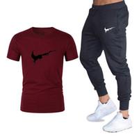 Wholesale fitness t shirt printing resale online - Men S Brand T Shirts Suit Pants Two Pieces Sets Casual Tracksuit Male Casual Round Neck T Shirt Gyms Fitness Trousers Men SizeM XL