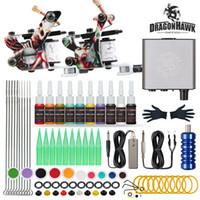 Dragonhawk Beginner Tattoo Kit 2 Machines Inks Mini Power Supply Set D175GD-17