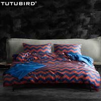 algodón egipcio satinado al por mayor-Reina de matrimonio ropa de cama de algodón egipcio de satén ajustado a rayas azules de ondulación tapas sábana de lino de impresión sábana edredón rojo