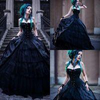 Wholesale gothic wedding dresses bows for sale - Group buy Black Romantic Gothic Wedding Dresses Strapless A Line Long Lace Up Back Vintage Bridal Dresses Custom Made