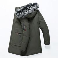 mens ordu yeşil parka toptan satış-Kışlık mont Erkek aşağı parkas büyük kürk yaka kapşonlu ceket rüzgarlık hoodies kalın sıcak palto artı boyutu giyim ordu yeşil