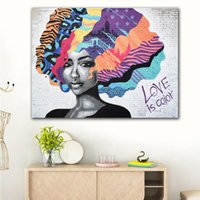 Wholesale oil painting girls portrait for sale - Group buy 1 Panel Girl Portrait Poster Graffiti Canvas Painting LOVE IS COLOR Wall Pop art Abstract Pictures For Living Room Decoration No Frame
