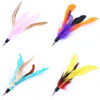 ingrosso uccello diy-Colore Multi Cat Toys Bird Feather Plastic Wand Plastica Fai da te Catstoys Parti Cat Supplies 18cm Vendita calda 1 07ttE1