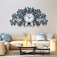 Wholesale decorative crystals hang resale online - 2019 Creative Blue Yellow Crystal Tree Large Wall Clock Modern Design Silent Home Decorative Unique Hanging Clocks