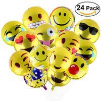 Wholesale helium balloons pvc resale online - 24pcs Inch emjoy Foil Party Balloons Foil Balloon Birthday Party Emoticons Helium Ballon Wedding Decor Inflatable Balls