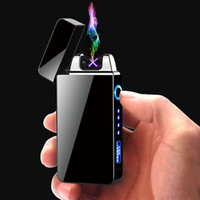 Wholesale gifts electronics for sale - Group buy Windproof Electronic Cigarette Lighter Double Arc Cigar Plasma Lighter LED Power Display USB Charging Pulse Lighters for Men Gift