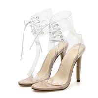 encaje claro hasta zapatos de boda al por mayor-2019 Moda Europa Mujeres Tacones Altos Sandalias Sexy Peep Toe Correa del Tobillo Zapatos Lace Up Clear Transparente Boda Sandalias Del Partido