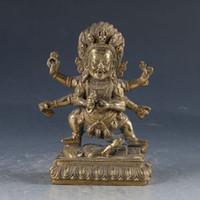 buddha chinês ornamentos venda por atacado-Chinês Feng shui ornamentos Budismo Tibetano Bronze Mahakala Estátua de Buda