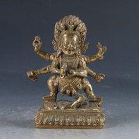 çince saray süsleri toptan satış-Çin Feng shui süsler Tibet Budizm Pirinç Mahakala Buda Heykeli