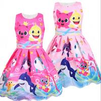 Wholesale baby knee cap online - Baby Shark Summer Dress Girls Cartoon Print Dresses Cosplay Princess Sleeveless Kids Skirt Party Dress Beach Clothes AAA1914