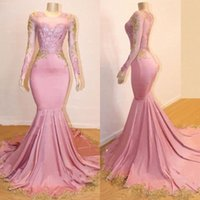 Wholesale party for sale - 2019 New Sheer Long Sleeves Mermaid Prom Dresses Gold Lace Applique Sweep Train Formal Party Evening Gowns