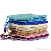 ingrosso mini sacchetti di lino-17 * 23 cm multi colori mini sacchetto di iuta borsa di lino canapa piccolo con coulisse borse anello collana sacchetti di gioielli bomboniere regalo imballaggio 710