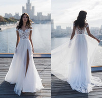 Wholesale lace wedding dresses for sale - 2019 New Beach Wedding Dresses Sheer Neck Lace Appliqued Chiffon Floor Length Split Boho Bridal Gowns Custom Made