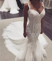 Wholesale pictures mermaid style wedding dresses for sale - Group buy New Lace Mermaid Wedding Dresses For Bride Spaghetti Appliques Sweep Train Country Style Bridal Gowns Luxury Vestidoe De Noiva Custom
