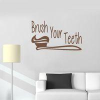 lindo papel tapiz de baño al por mayor-Baño calcomanías de pared Signo cepille sus dientes Pegatinas de pared Arte Vinilo Aseo Decoración Mural Impermeable Lindo Bebé Habitación Wallpaper