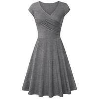 платья для длинных колен оптовых-Плиссированное стройное летнее платье Новое платье с V-образным вырезом и мягкими короткими рукавами Элегантное платье с длинными рукавами и коленом Хлопковое платье большого размера